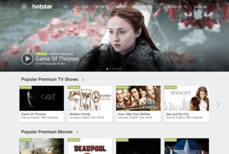 Capture d'écran de Hotstar sur PC